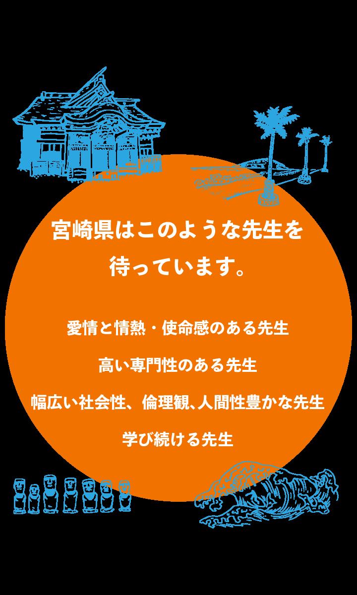宮崎県はこのような先⽣を 待っています。 愛情と情熱・使命感のある先⽣ ⾼い専⾨性のある先⽣ 幅広い社会性、倫理観、⼈間性豊かな先⽣ 学び続ける先⽣